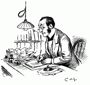 man-with-glass-writing-at-desk-clerk-thank-you-card-paying-bills-dot-is-pen-ink-drawing[1]